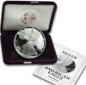 1992 S .999 SILVER PROOF AMERICAN EAGLE DOLLAR COIN, CASED WITH COA  C2