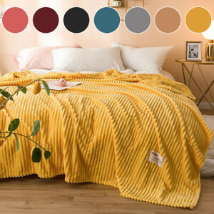 Soft Warm Fleece Flannel Solid Throw Blanket Rug for Couch/Sofa/Bed/Chair
