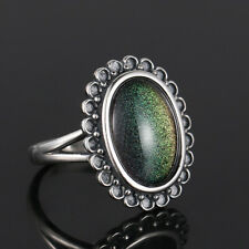 Vintage 925 Silver Oval Stone Temperature Color Change Mood Ring Wholesale !!