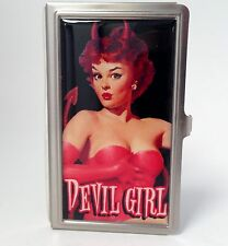Devil Girl Business Card Case by Retro-a-Go-Go Brushed Steel - NWT