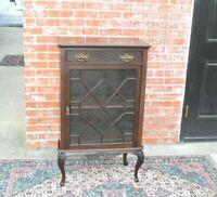 English Antique Mahogany Wood Display Cabinet