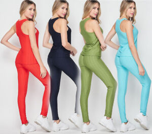 2pc Womens Yoga Tank Top High Waist Pants Outfit Set Anti-Cellulite Gym Workout