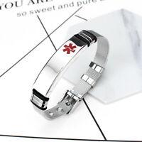 Men Women Medical Alert Bracelet Watch Tag Engraving Silver Decor Ornament G6A