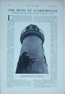 1914 WW1 ARTICLE & PICS GERMAN RAID UPON SCARBOROUGH LIGHTHOUSE GASOMETER