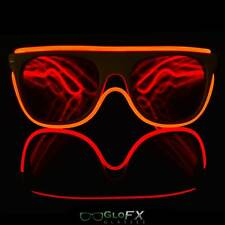 GloFX Flat Top Diffraction Glasses with Red Luminescence Goggles Rave Party Show