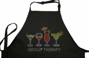 Rhinestone Embellished Black Apron with Group Therapy and Drink Glasses