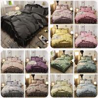 Cotton Ruffle Bedding Kit Duvet Quilt Cover Bed Skirt Pillowcase Set Queen Size