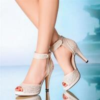 10 cm heel,Wedding shoes ankle strap open toe lace heels Women lady Bridal boots