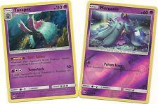 RARE TOXAPEX (Holo) & MAREANIE (RH) - 2 EVO Pokemon Cards-SUN & MOON-MINT