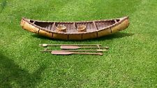 Handmade Native American Bark Canoe 37 inches with oars, baskets and forks