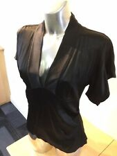 DVF Black Silk Vintage Fitted Kimono Top. Size 10UK. Exc Condition.