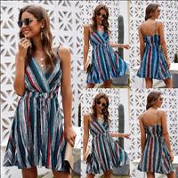Women Rainbow Stripes  Backless Beach  Deep V Neck Sundress Sexy Bohemian  Dress