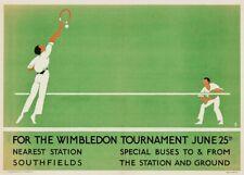 Wimbledon Tennis, 1922, English Travel London Underground Sports Poster