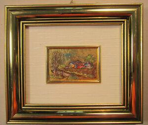 23 Kt Gold Leaf Framed Art Reproduction E Ardigo Farm House Stream Miniature Vnt