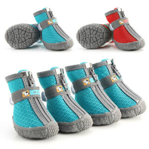4pcs/Lot Dog Boots Waterproof Shoes for Dogs Reflective Anti-Slip Booties Unisex