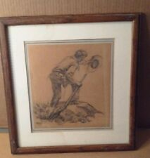 CHARLES HARGENS - ORIGINAL WESTERN DRAWING- COWBOY WITH RIFLE AND PISTOL - RARE