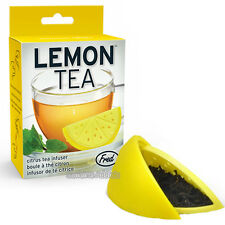 LEMON TEA INFUSER CUTE YELLOW WEDGE SHAPED LOOSE LEAF SILICONE MUG CUP STRAINER