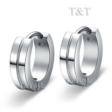TRENDY T&T Plain Stainless Steel Hoop Earrings (EP55)