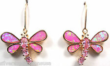 Rose Gold Plated Pink Fire Opal Inlay 925 Sterling Silver Dragonfly Earrings