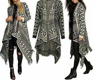 Ladies Womens Long Sleeve Knitted Aztec Pattern Open Waterfall Tassel Cardigan