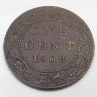 1908 Canada Copper Large One 1 Cent Canadian Circulated Penny Coin B832