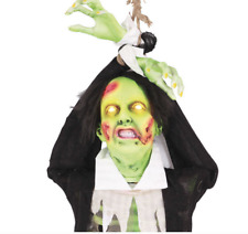 Hanging Animated Zombie Halloween Prop Sound Motion Activated NEW