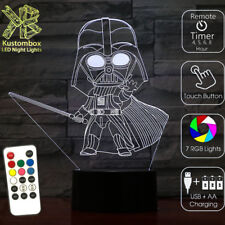 DARTH VADER STAR WARS 3D LED BATTERY USB NIGHT LIGHT +  REMOTE 7 COLOUR LAMP