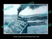 OLD LARGE HISTORIC PHOTO OF EUREKA NEVADA, THE UINTAH RAILWAY TRAIN c1940