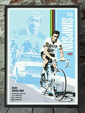 Tom Simpson cycling legend print. Tour de france specially created A3 size