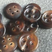 J648 Lot 8 28L 18mm Italy Brown Real Buffalo Horn Button Coat Pocket Trouser