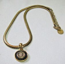 Attractive Anne Klein Signed AKI Snake Chain Pendant Necklace with Faux Coin