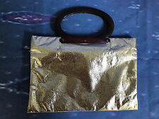 Vintage 1970's LADY'S PRIDE Gold Lame Foldable Bag Clutch Disco Lucite Handle