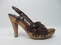 Michael Kors Brown Leather Wooden Heel Sandals Studs Size Women's 8.5 M