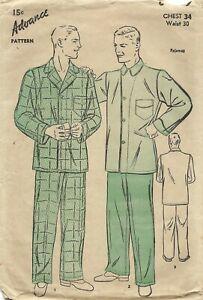 "Advance 6400 Men's Two-Piece Pajama Set 34"" Chest 30"" Waist COMPLETE 1940s"