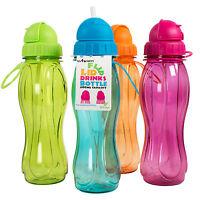 Set of 4 Flip Lid BPA Free Plastic Water Drinks Bottles Kids School Sport Gym