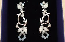 AUTHENTIC SWAROVSKI WHITE OPAL, CRYSTAL AND PEARL EARRINGS