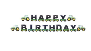 Tractor Happy Birthday Banner Party Supplies Kids Farming Green Vehicle 2.5M