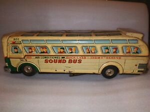 VINTAGE OLD BATTERY MODERN TOYS SIGHT SEEING BUS TIN TOY JAPAN SOUND BUS 14 INCH
