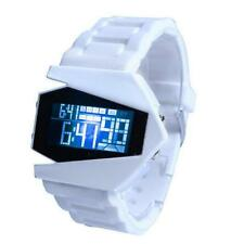 White Silicone Metal Sport Digital LED Light Alarm Wrist DIAL Watch Men's Gift