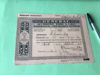 General Accident Fire & Life 1912 Burglary Department Receipt  Ref  51023