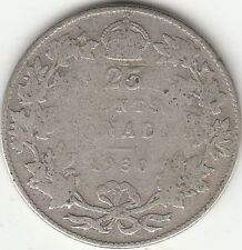 .800 Silver 1930 George V 25 Cent Piece G-VG