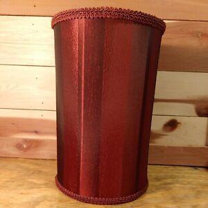 "Beautiful Burgandy Satiny Stripe Drum Lamp Shade 7.25"" Diameter 11"" Tall"