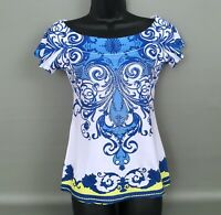 CACHE Blue-White Paisley Print Studded Front Boat Neck Short Sleeve Top Sz. XS