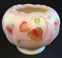 Fenton Art Glass Hand Painted Leaf And Scroll On Burmese Rose Bowl