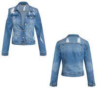 Womens Long Sleeve Distressed Ripped Vintage Blue Denim Jacket 8-14