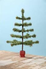 "Bethany Lowe 19"" Green Tiger Feather Tabletop Christmas Tree with Spool Base"