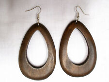 ELEMENTAL DARK BROWN STAINED WOOD DANGLING DROPLET TEAR DROP SHAPE HOOP EARRINGS