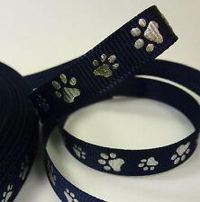 Geschenkband Deko Band Bastel Hund Katze Pfote Tatze 2 m 1 cm blau silber - NEU