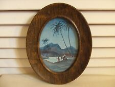 Antique Vintage Blue Picture Holy Family Metal Frame Faux Wood Small Oval 5 X 7