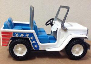 "Vintage Buddy L Jeep pressed steel Japan red white blue stars stripes 6"" toy"